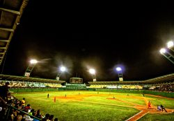 Cienfuegos Cuba baseball stadium at night